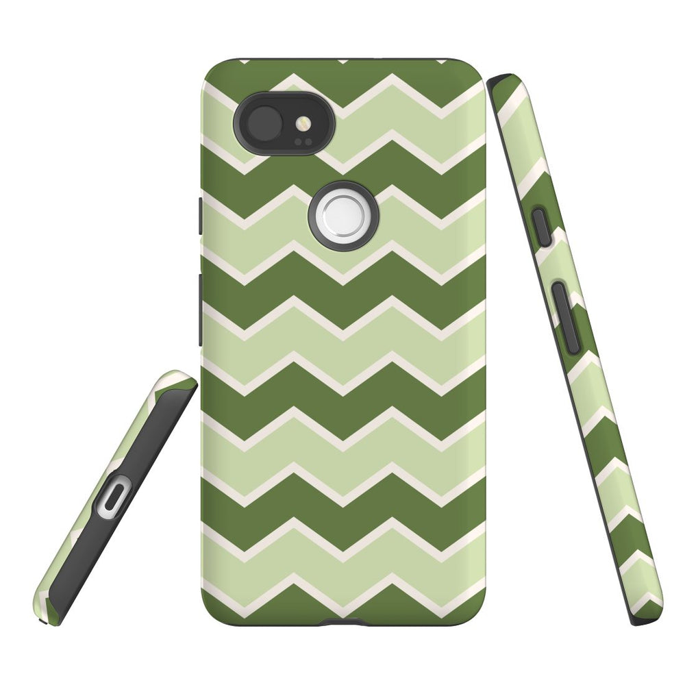 For Google Pixel 2 XL, 2, 1 XL & 1 Case Protective Case, Zigzag Green