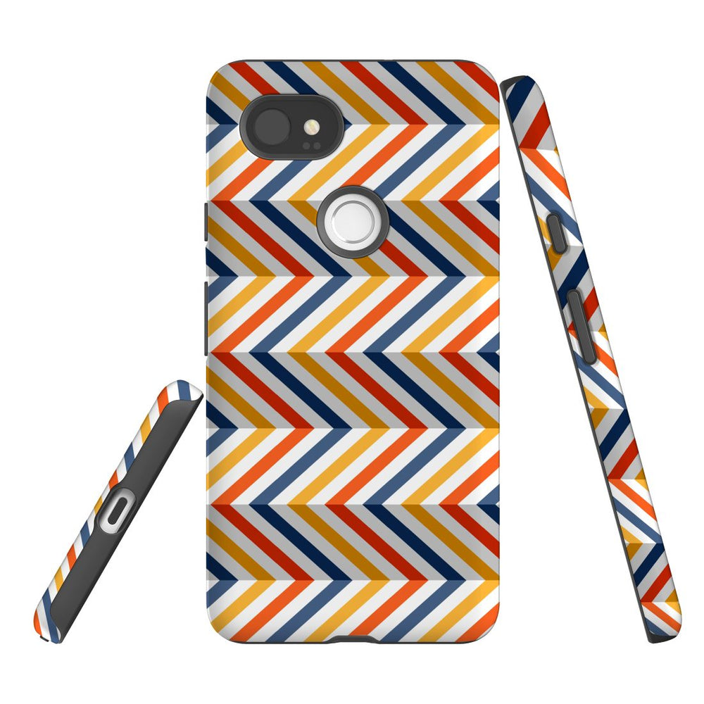 For Google Pixel 2 XL, 2, 1 XL & 1 Case Protective Case, Zigzag Left Right Colorful