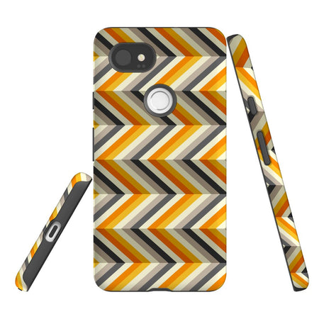 For Google Pixel 2 XL Protective Case, Zigzag Left Right Yellow Pattern