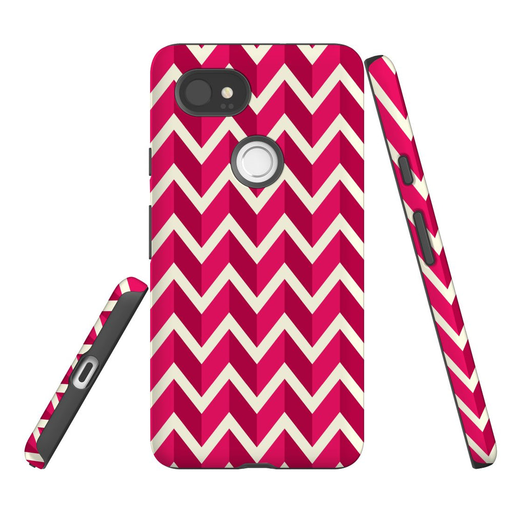 For Google Pixel 2 XL Protective Case, Zigzag Magenta Pattern