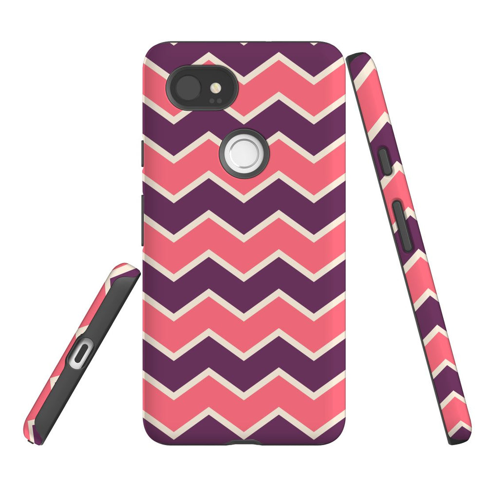 For Google Pixel 2 XL Protective Case, Zigzag Pink Purple Pattern