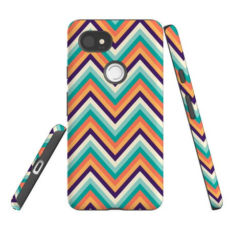 For Google Pixel 2 XL, 2, 1 XL & 1 Case Protective Case, Zigzag Rainbow