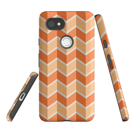 For Google Pixel 2 XL, 2, 1 XL & 1 Case Protective Case, Zigzag Salmon