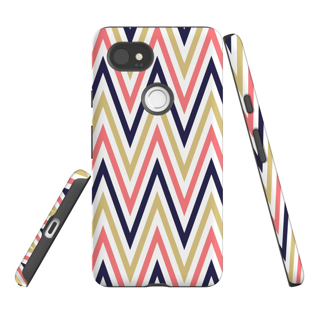 For Google Pixel 2 XL Protective Case, Zigzag Salmon Purple Pattern
