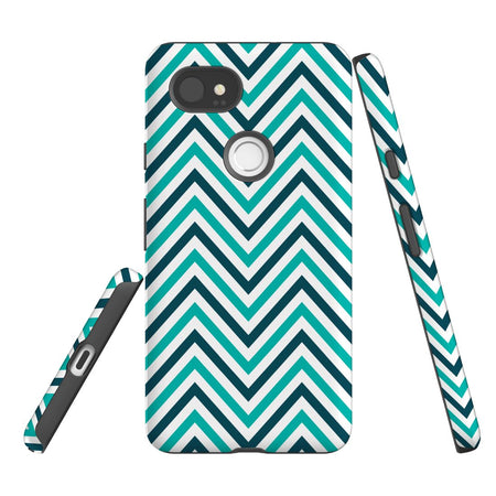 For Google Pixel 2 XL, 2, 1 XL & 1 Case Protective Case, Zigzag Turquoise
