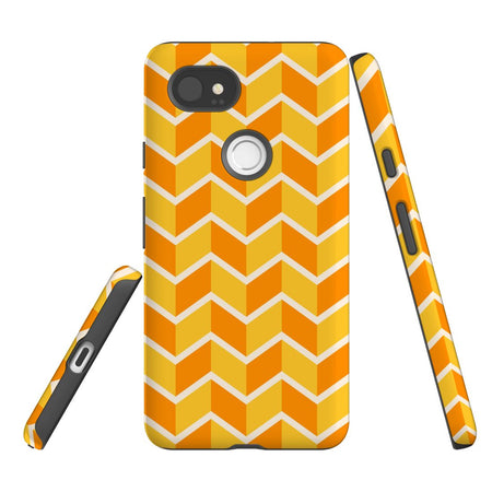 For Google Pixel 2 XL Protective Case, Zigzag Yellow Orange  Pattern
