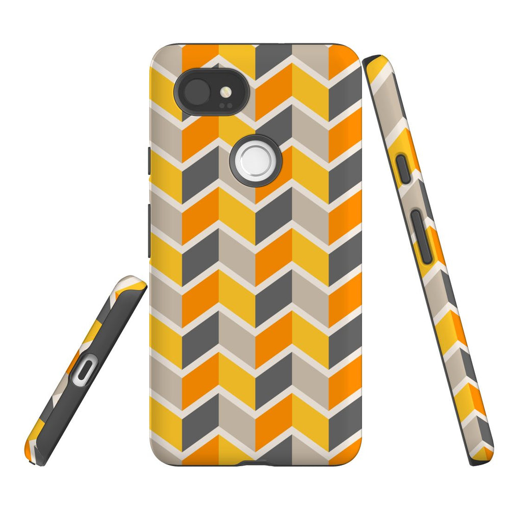 For Google Pixel 2 XL, 2, 1 XL & 1 Case Protective Case, Zigzag Yellow