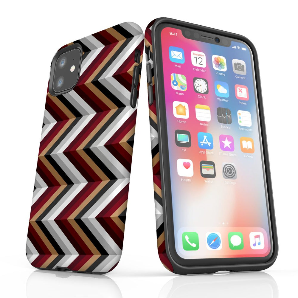For iPhone 11 Protective Case, Zigzag Black Brown Red Pattern
