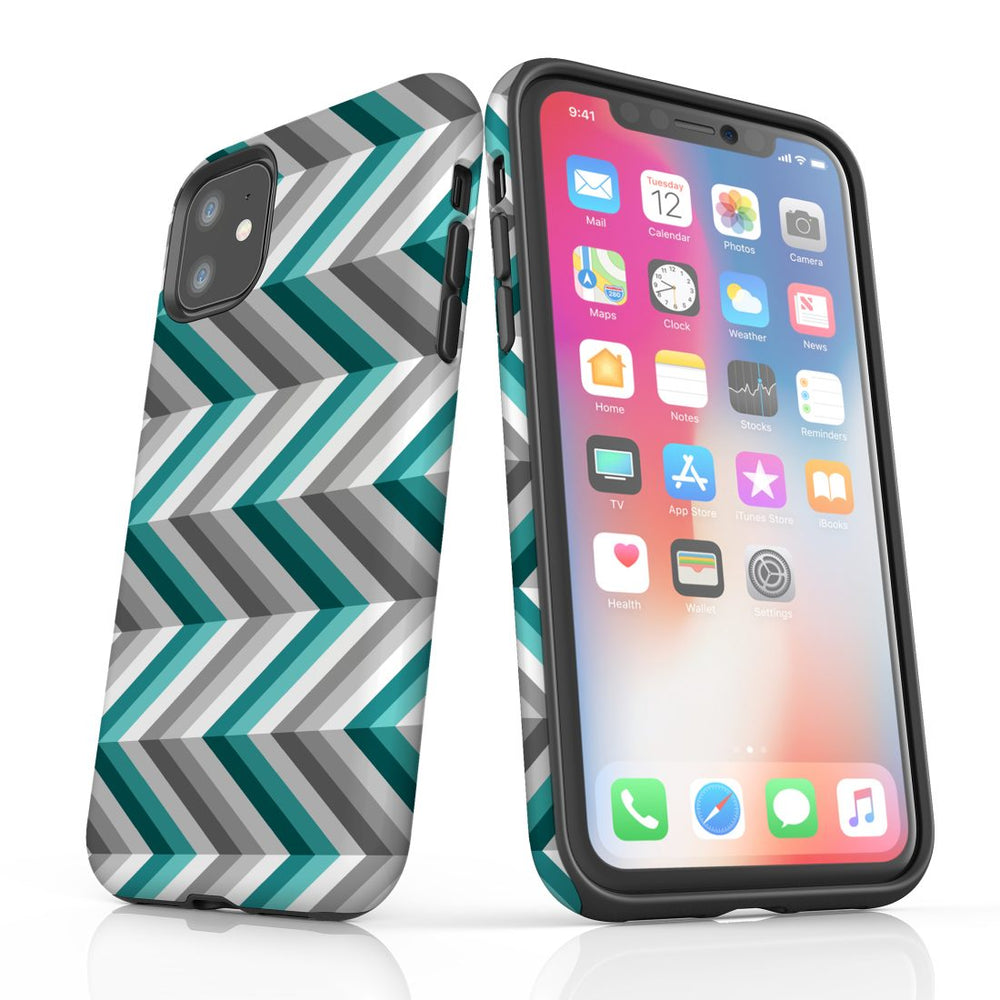 For iPhone 11 Protective Case, Zigzag Blue Grey Pattern