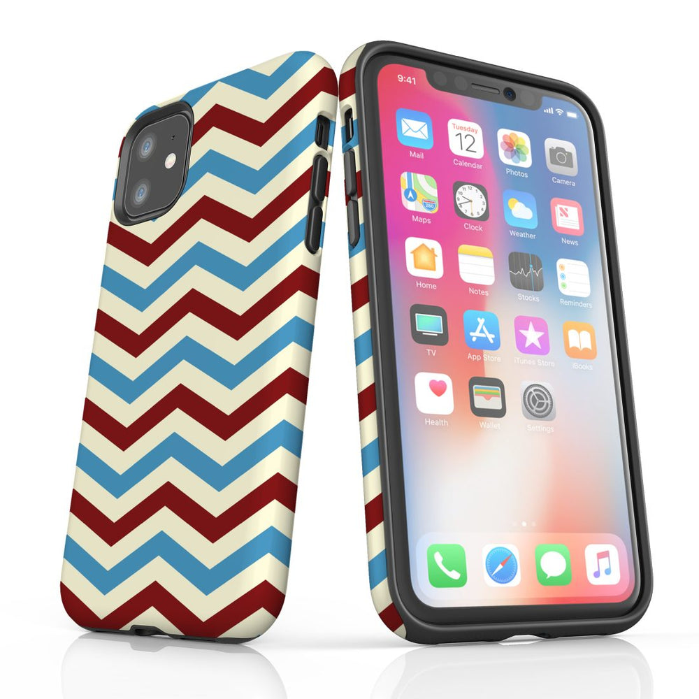 For iPhone 11 Protective Case, Zigzag Blue Red Pattern
