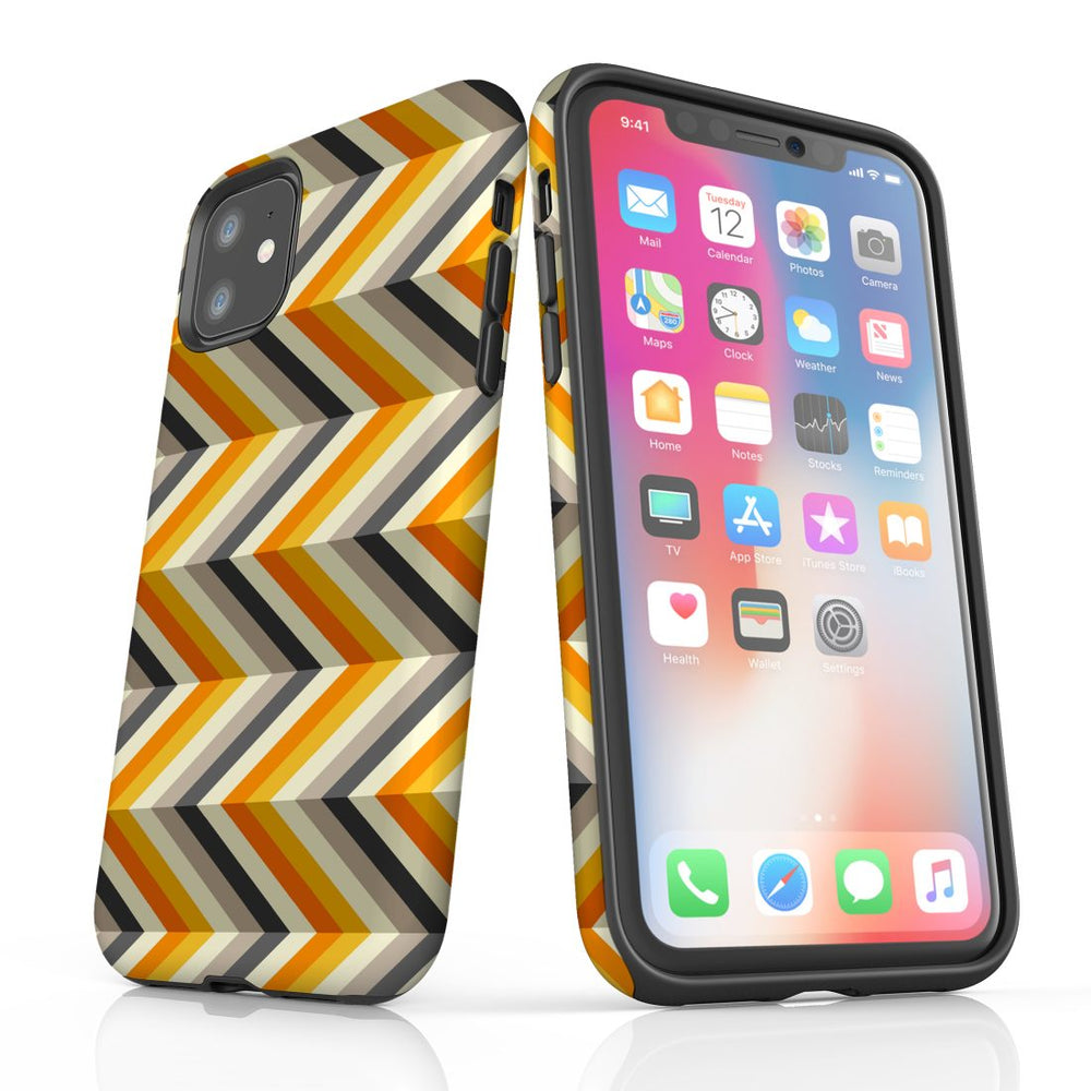 For iPhone 11 Protective Case, Zigzag Left Right Yellow Pattern