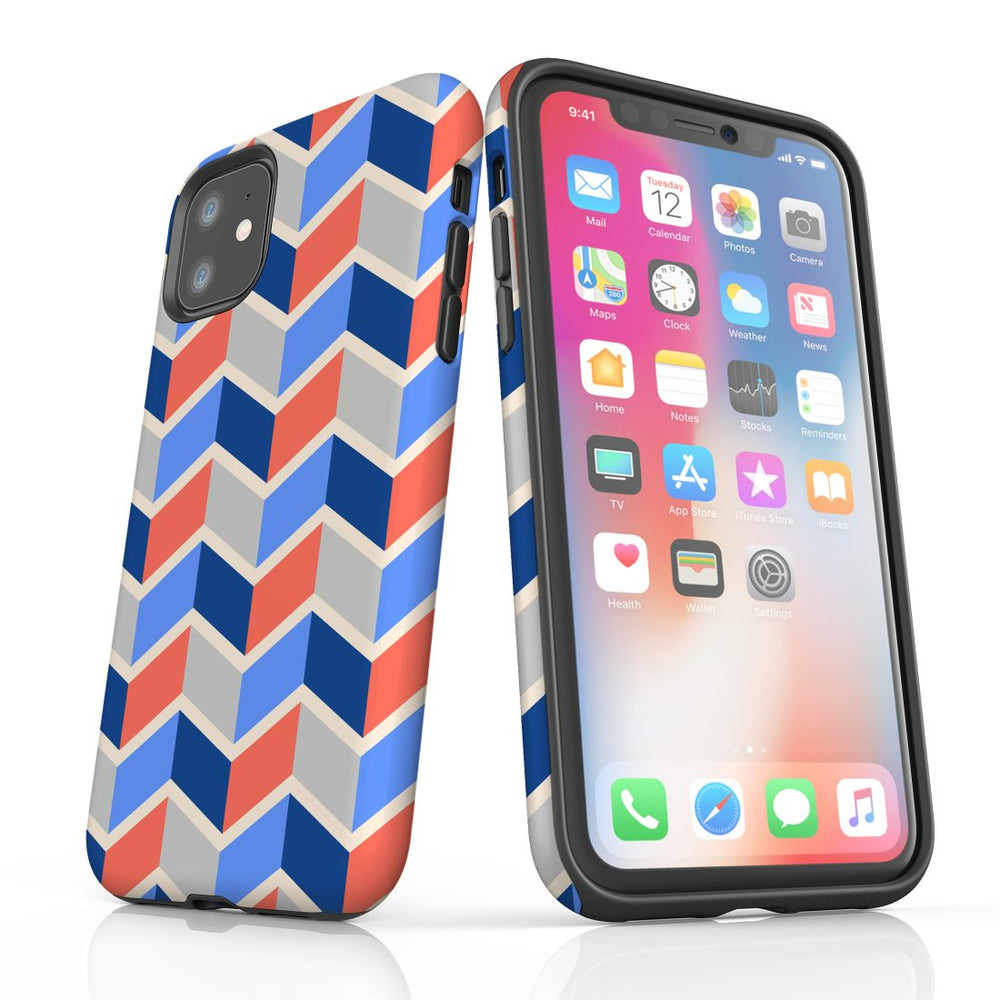For iPhone 11 Protective Case, Zigzag Salmon Blue Pattern