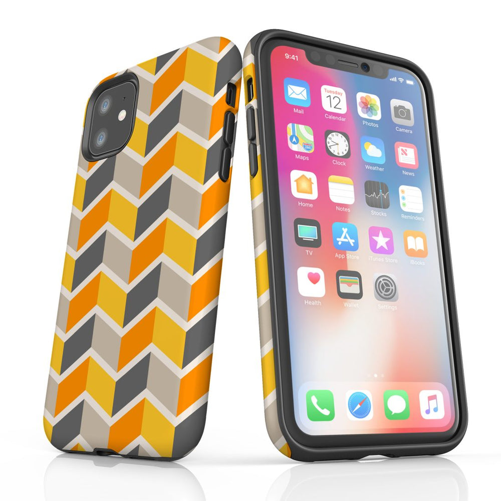For iPhone 11 Protective Case, Zigzag Yellow Pattern