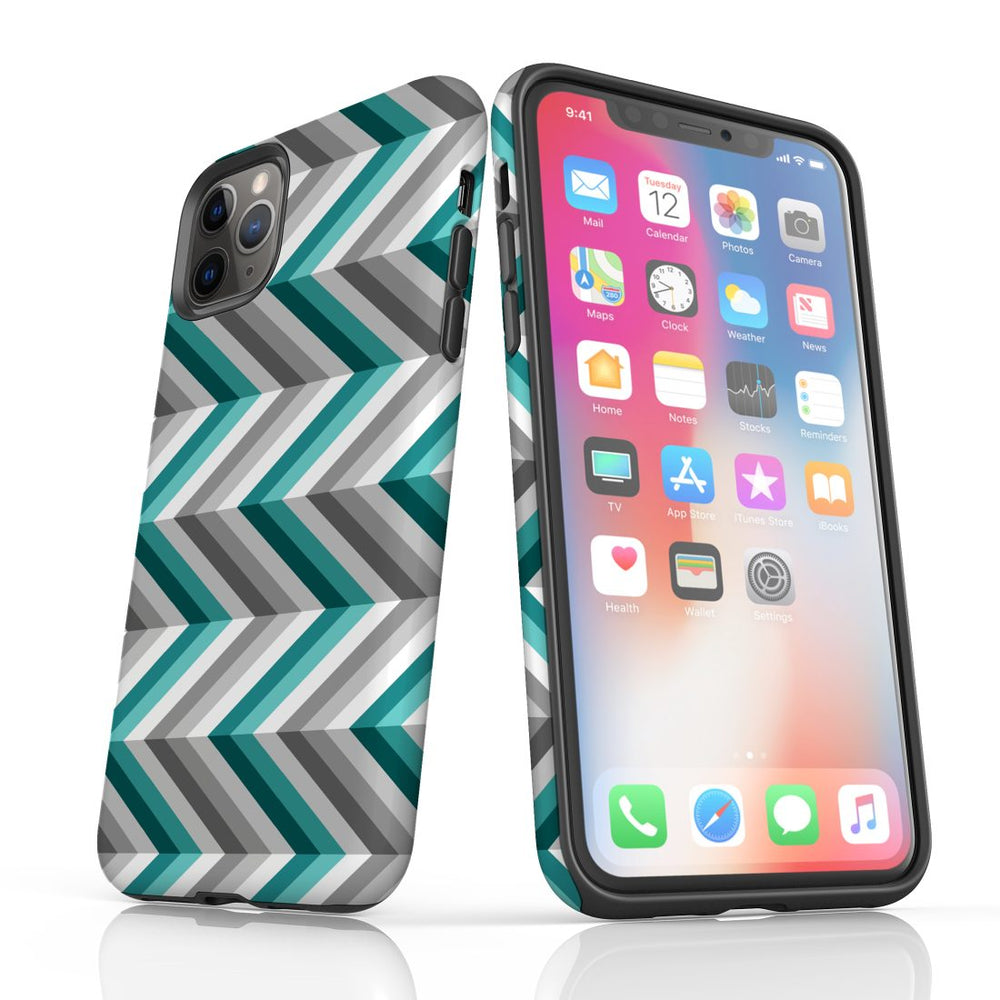 For iPhone 11 Pro Protective Case, Zigzag Blue Grey Pattern