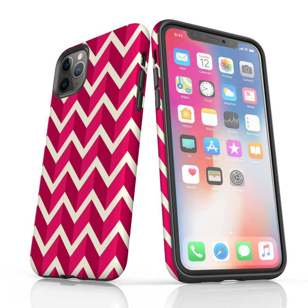 For iPhone 11 Pro Protective Case, Zigzag Magenta Pattern
