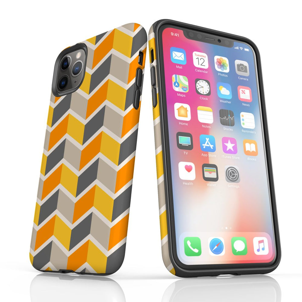For iPhone 11 Pro Protective Case, Zigzag Yellow Pattern