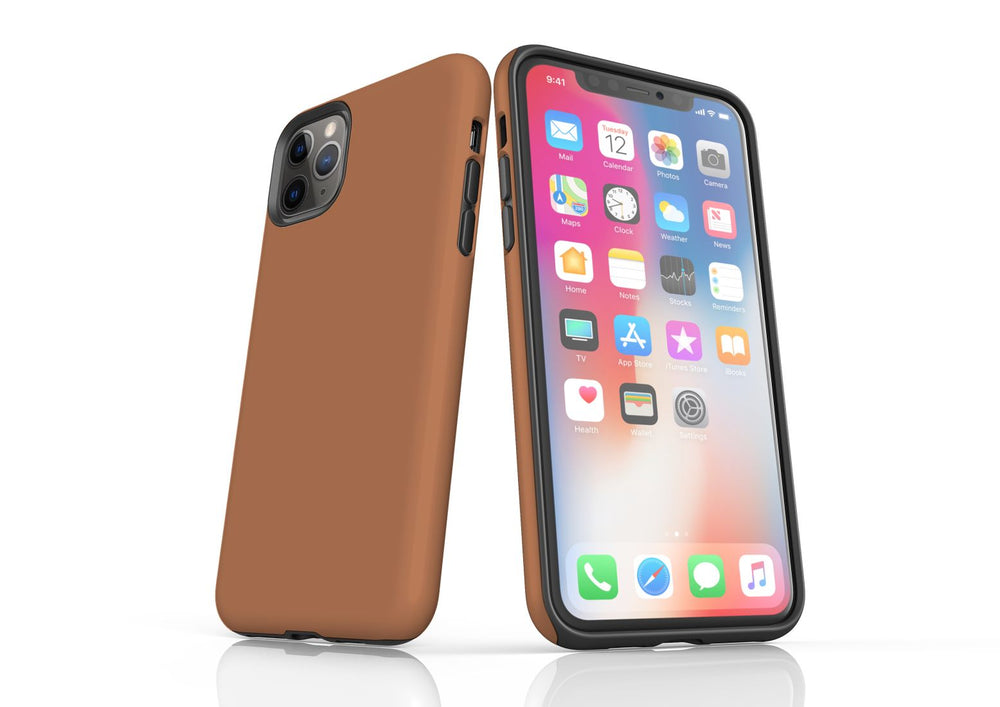 Brown iPhone 11 Pro Max Tough Case, Protective Back Cover