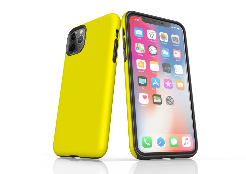 Yellow iPhone 11 Pro Max Tough Case, Protective Back Cover