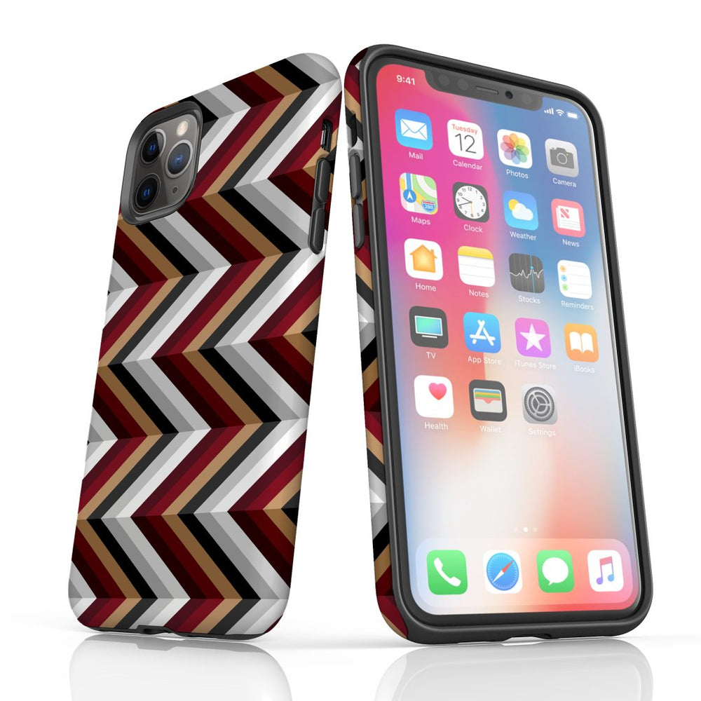 For iPhone 11 Pro Max, 11 Pro, 11, XS Max, XS/X, XR, 8/7/6 Plus, SE/5S/5 Protective Case, Zigzag Black Brown Red