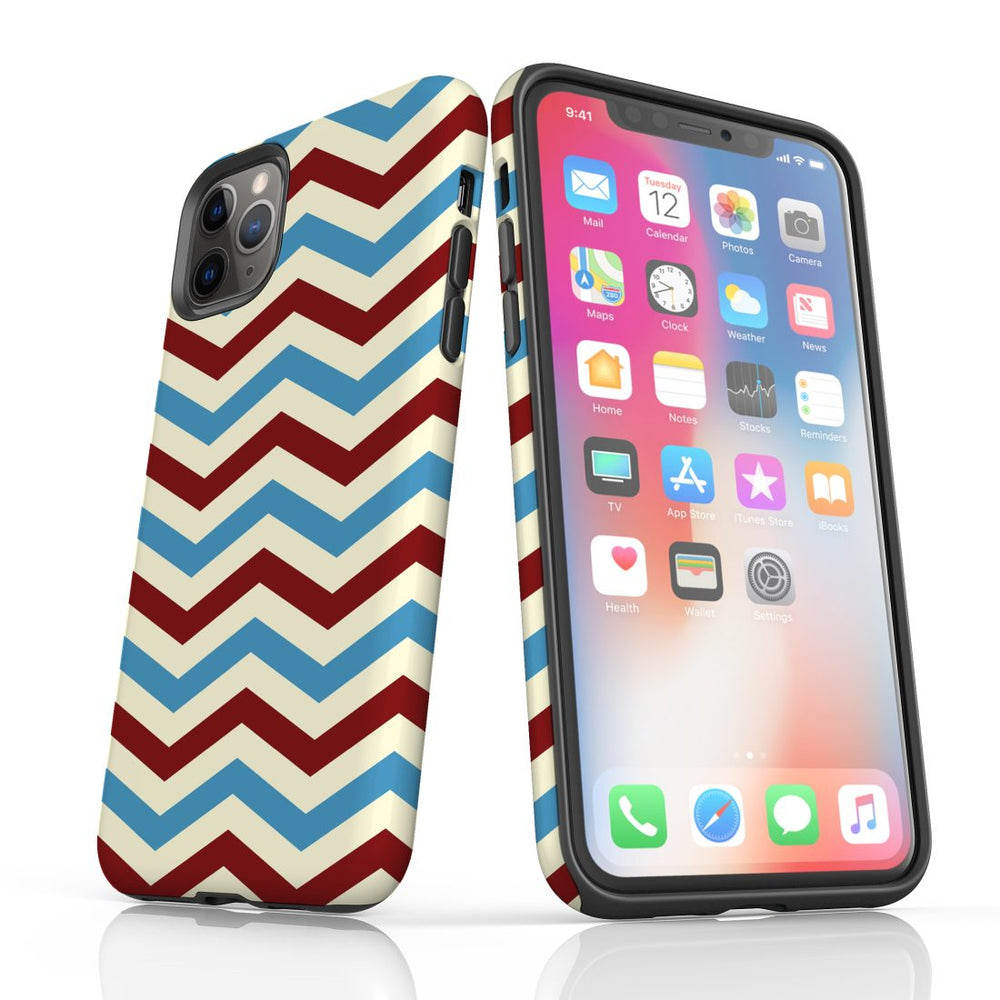 For iPhone 11 Pro Max, 11 Pro, 11, XS Max, XS/X, XR, 8/7/6 Plus, SE/5S/5 Protective Case, Zigzag Blue Red