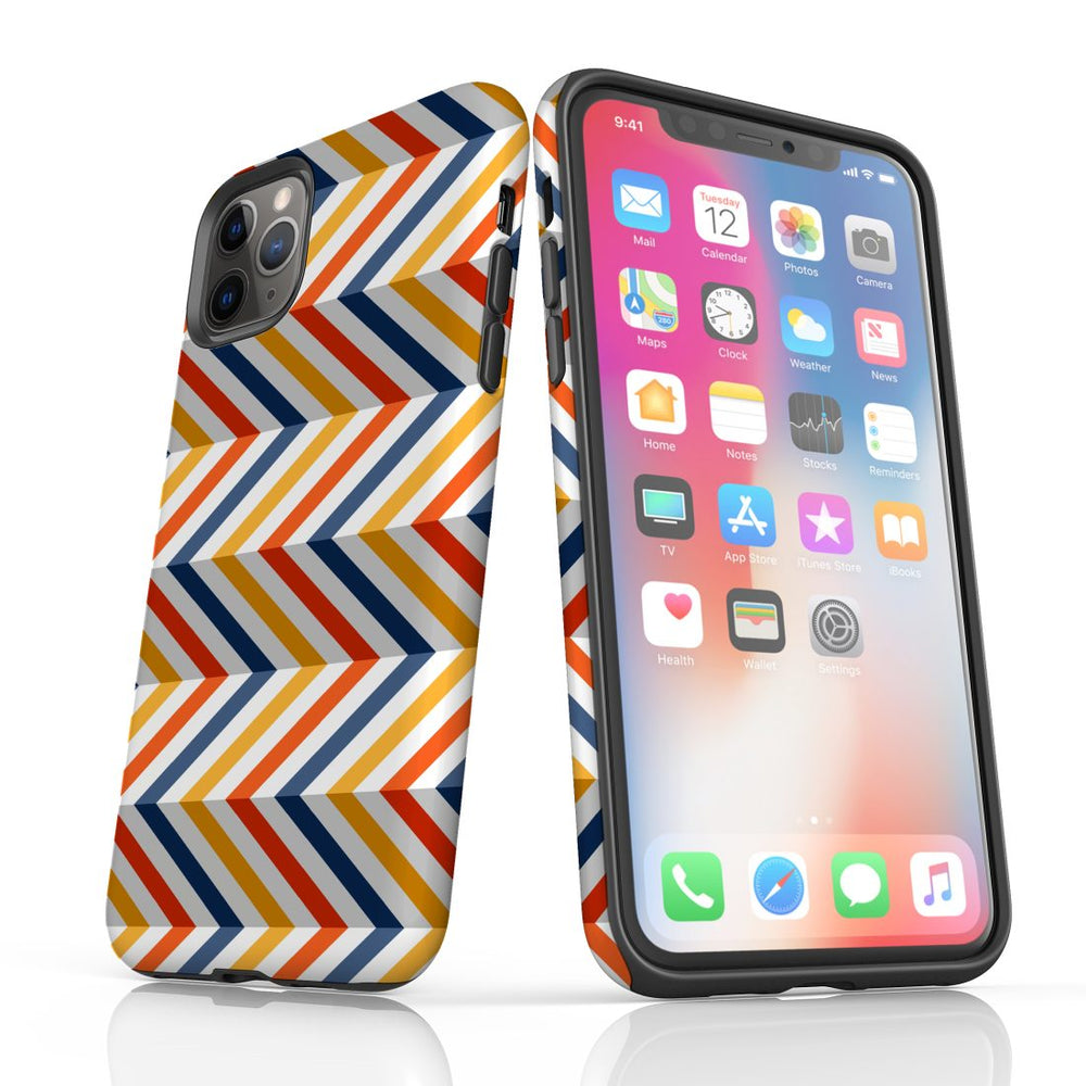 For iPhone 11 Pro Max, 11 Pro, 11, XS Max, XS/X, XR, 8/7/6 Plus, SE/5S/5 Protective Case, Zigzag Left Right Colorful