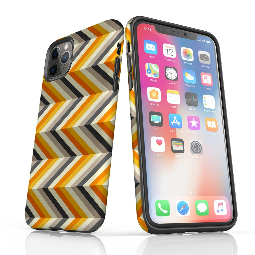 For iPhone 11 Pro Max, 11 Pro, 11, XS Max, XS/X, XR, 8/7/6 Plus, SE/5S/5 Protective Case, Zigzag Left Right Yellow