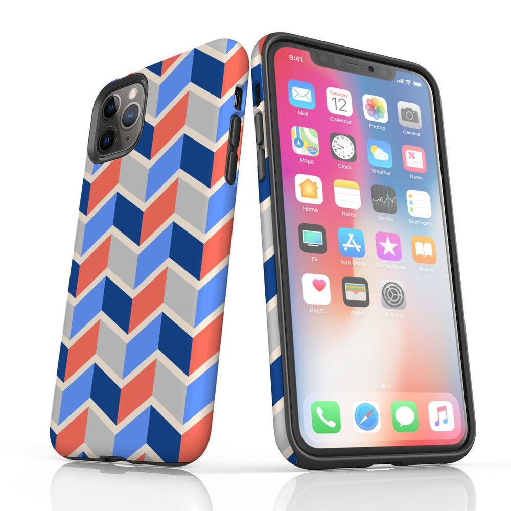 For iPhone 11 Pro Max, 11 Pro, 11, XS Max, XS/X, XR, 8/7/6 Plus, SE/5S/5 Protective Case, Zigzag Salmon Blue