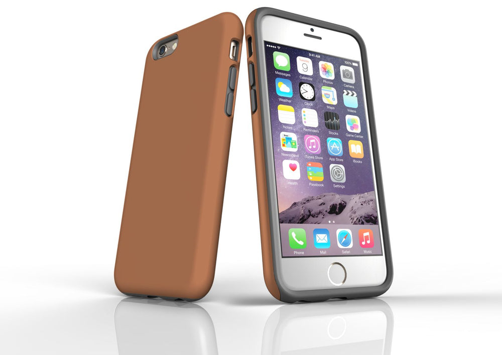 Brown iPhone 6S Tough Case, Protective Back Cover