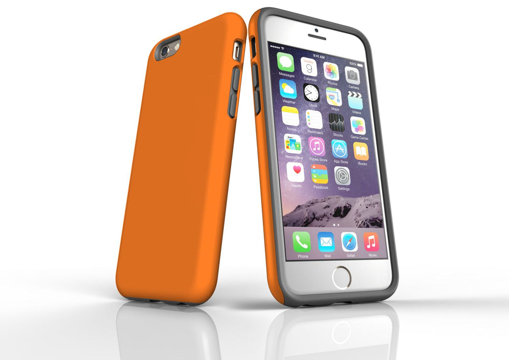 Orange iPhone 6S Tough Case, Protective Back Cover