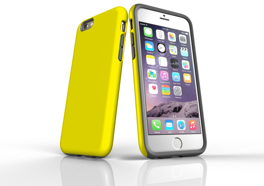 Yellow iPhone 6S Tough Case, Protective Back Cover