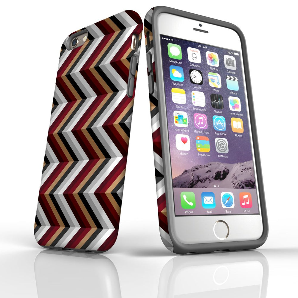 For iPhone 6S/6 Protective Case, Zigzag Black Brown Red Pattern