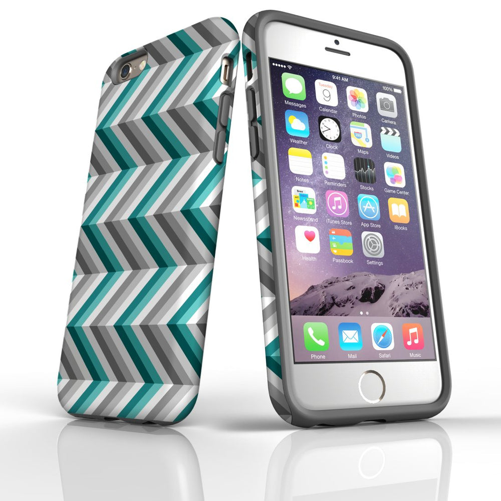 For iPhone 6S/6 Protective Case, Zigzag Blue Grey Pattern