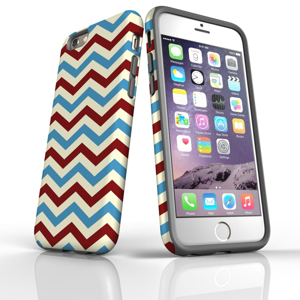 For iPhone 6S/6 Protective Case, Zigzag Blue Red Pattern