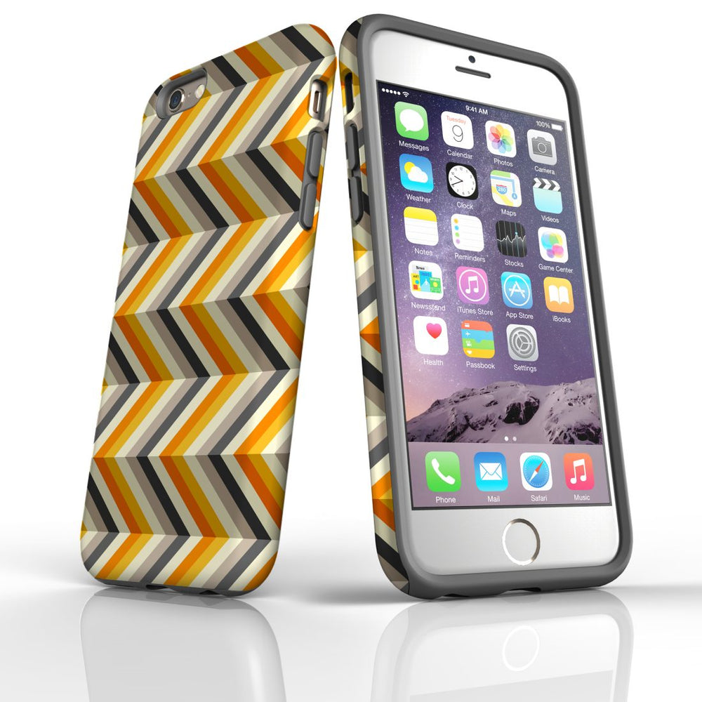 For iPhone 6S/6 Protective Case, Zigzag Left Right Yellow Pattern