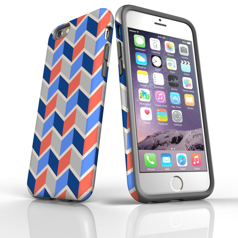 For iPhone 6S/6 Protective Case, Zigzag Salmon Blue Pattern