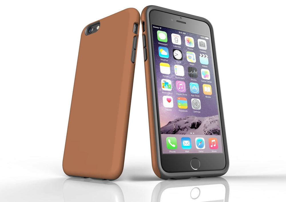 Brown iPhone 6S Plus Tough Case, Protective Back Cover