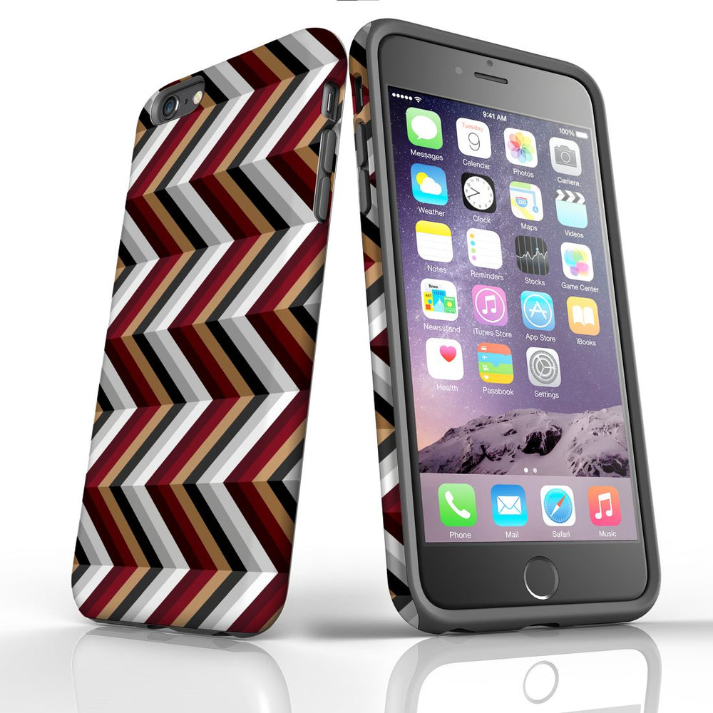 For iPhone 6S/6 Plus Protective Case, Zigzag Black Brown Red Pattern