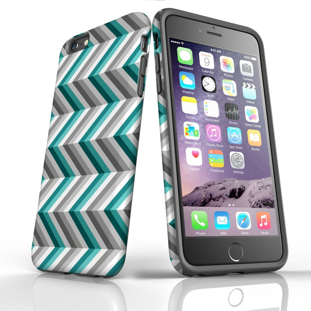 For iPhone 6S/6 Plus Protective Case, Zigzag Blue Grey Pattern