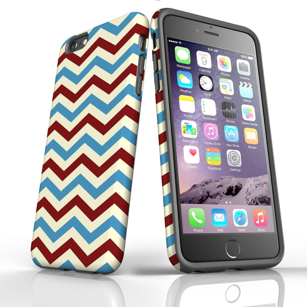 For iPhone 6S/6 Plus Protective Case, Zigzag Blue Red Pattern