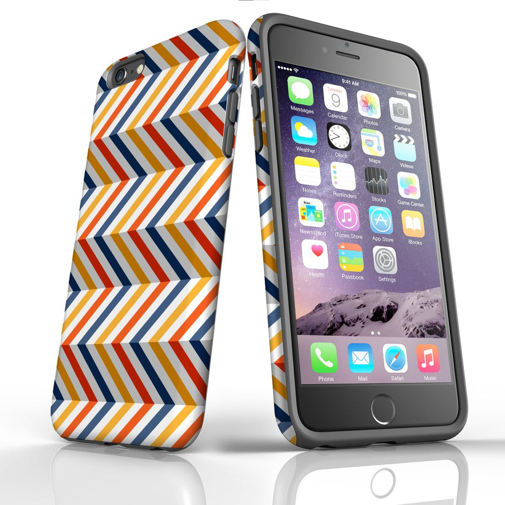 For iPhone 6S/6 Plus Protective Case, Zigzag Left Right Colorful Pattern