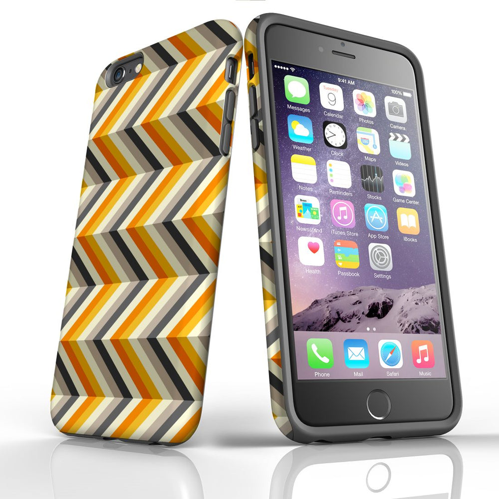 For iPhone 6S/6 Plus Protective Case, Zigzag Left Right Yellow Pattern