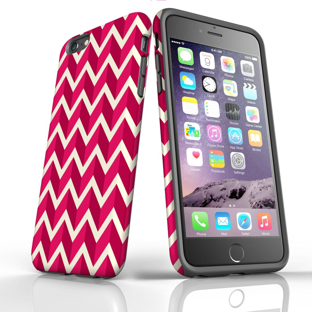 For iPhone 6S/6 Plus Protective Case, Zigzag Magenta Pattern