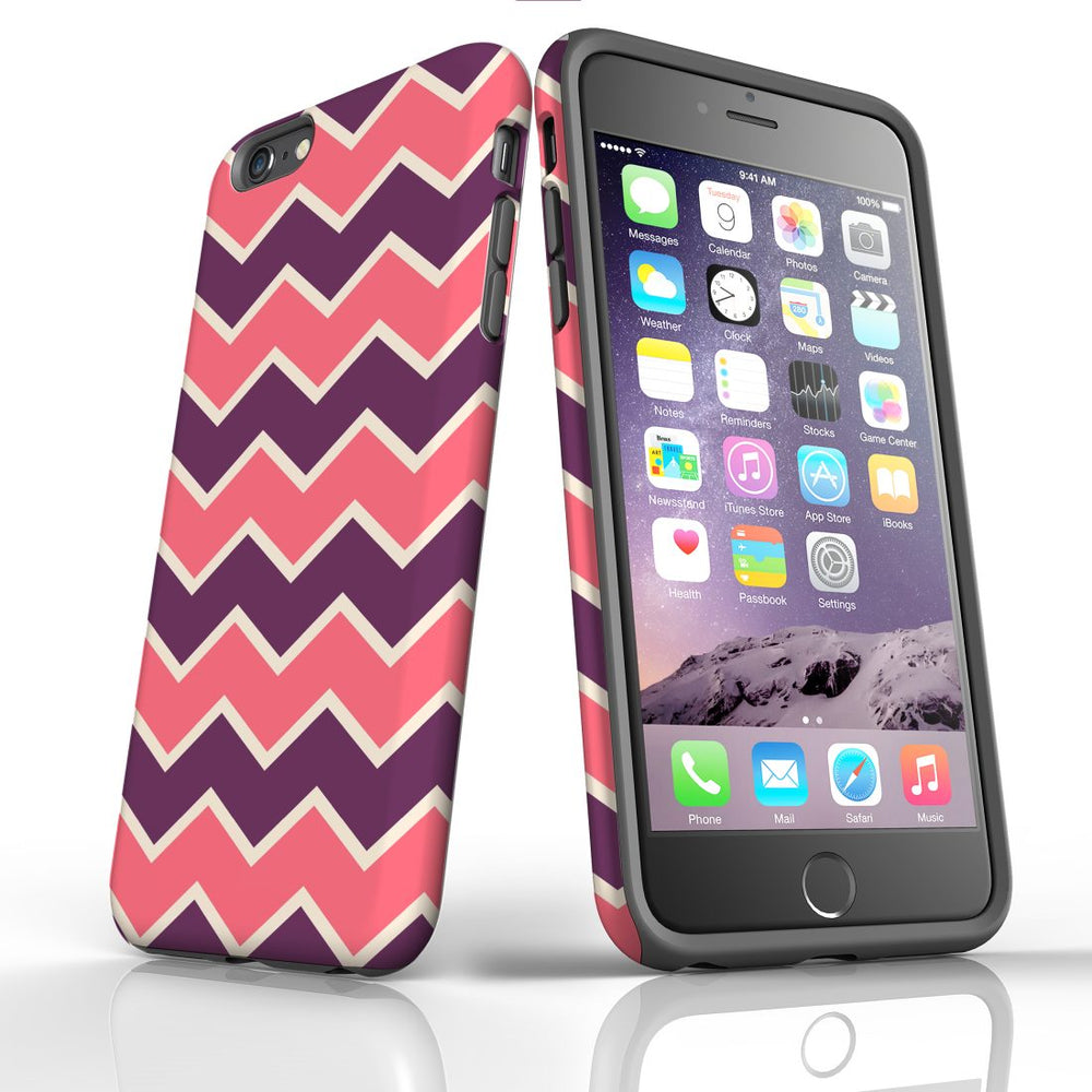 For iPhone 6S/6 Plus Protective Case, Zigzag Pink Purple Pattern