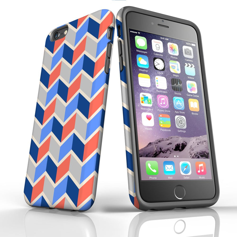 For iPhone 6S/6 Plus Protective Case, Zigzag Salmon Blue Pattern