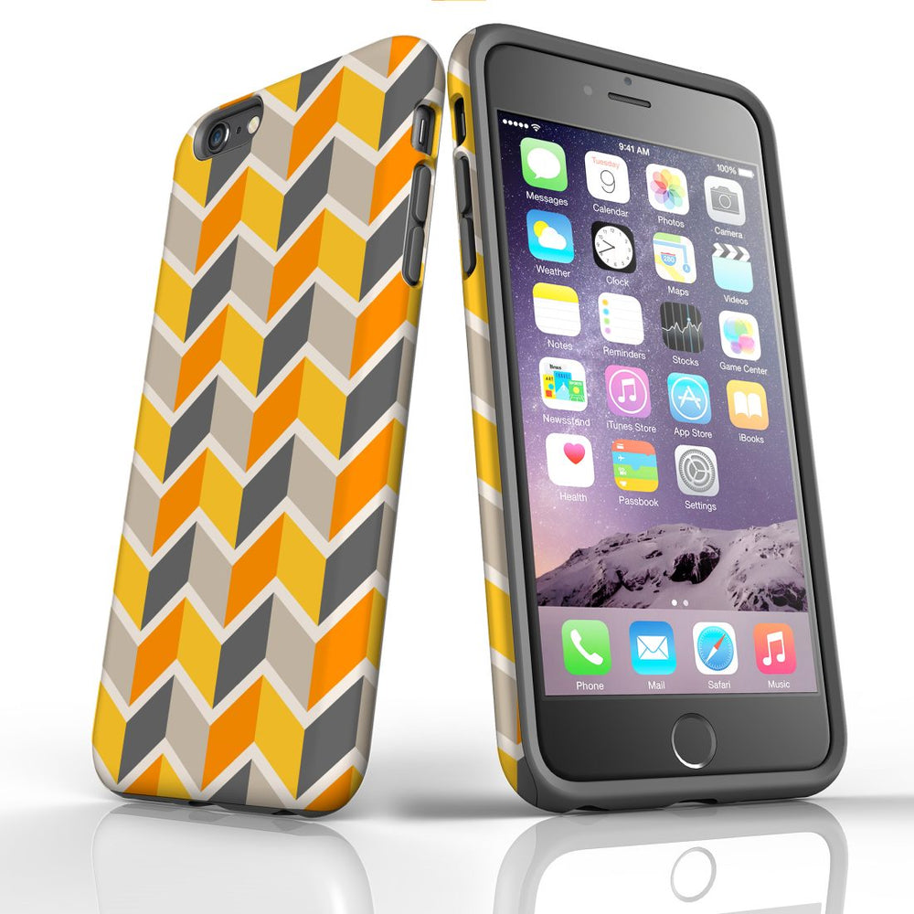 For iPhone 6S/6 Plus Protective Case, Zigzag Yellow Pattern