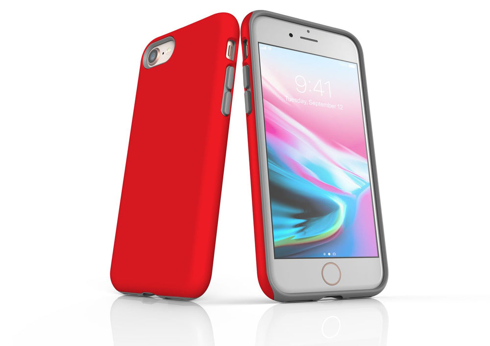 Red iPhone 8 Tough Case, Protective Back Cover