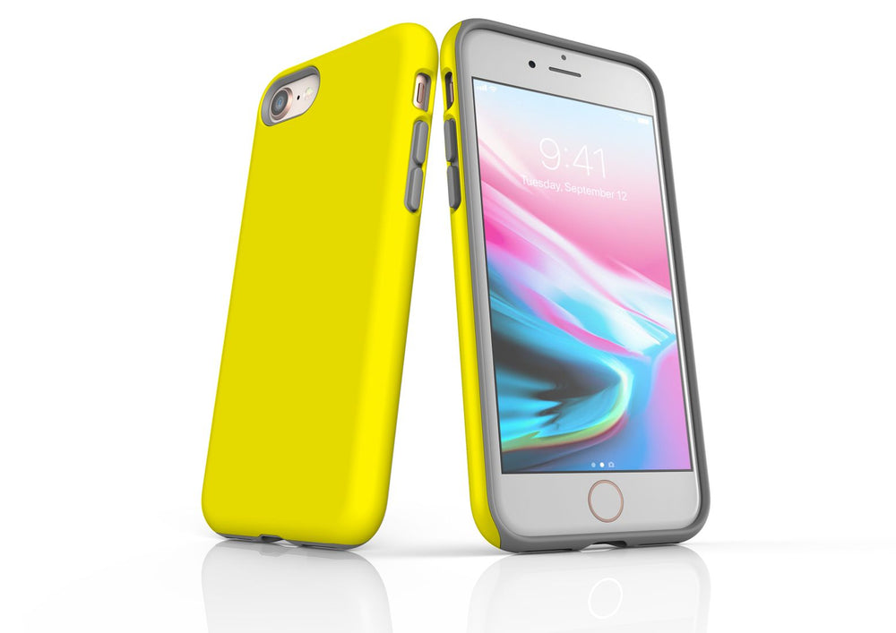 Yellow iPhone 8 Tough Case, Protective Back Cover