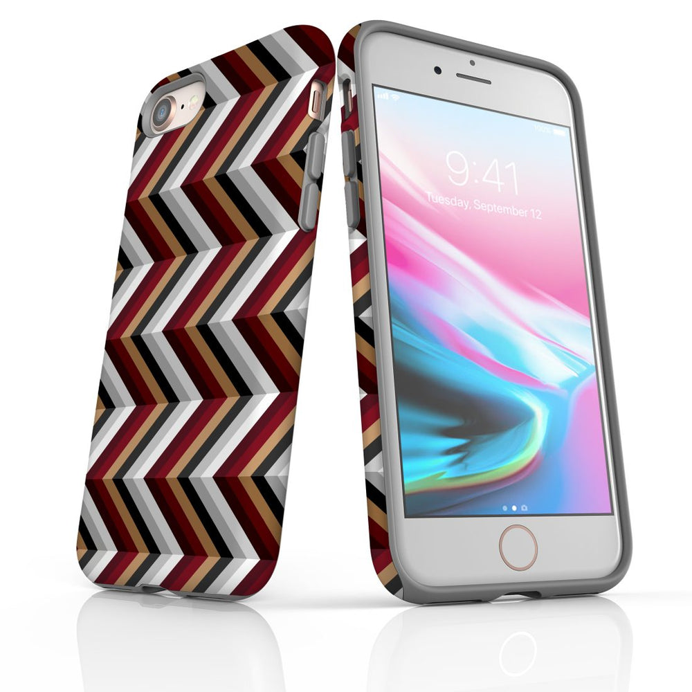 For iPhone 8/7 Protective Case, Zigzag Black Brown Red Pattern