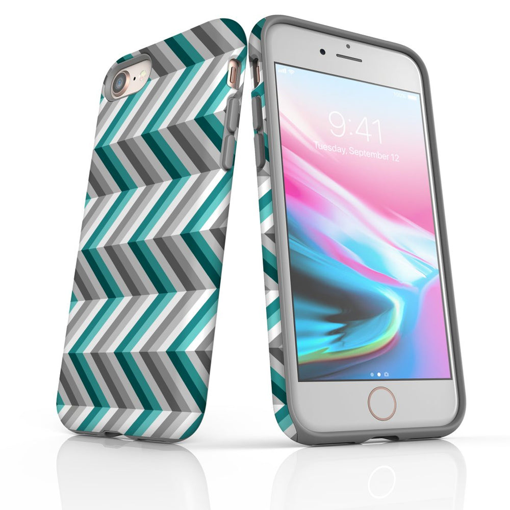 For iPhone 8/7 Protective Case, Zigzag Blue Grey Pattern