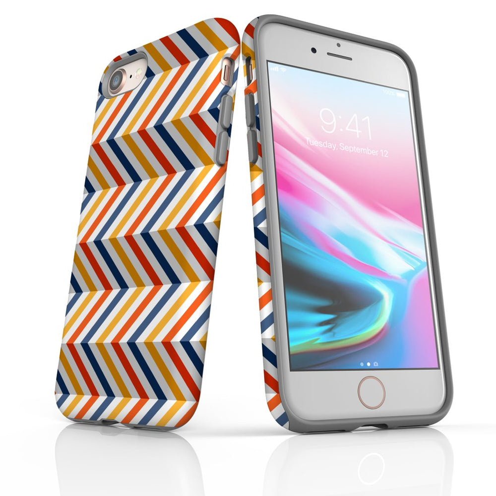 For iPhone 8/7 Protective Case, Zigzag Left Right Colorful Pattern